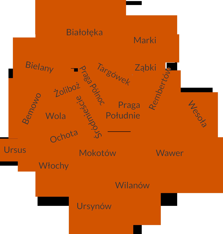 Mapa dzielnic Warszawy